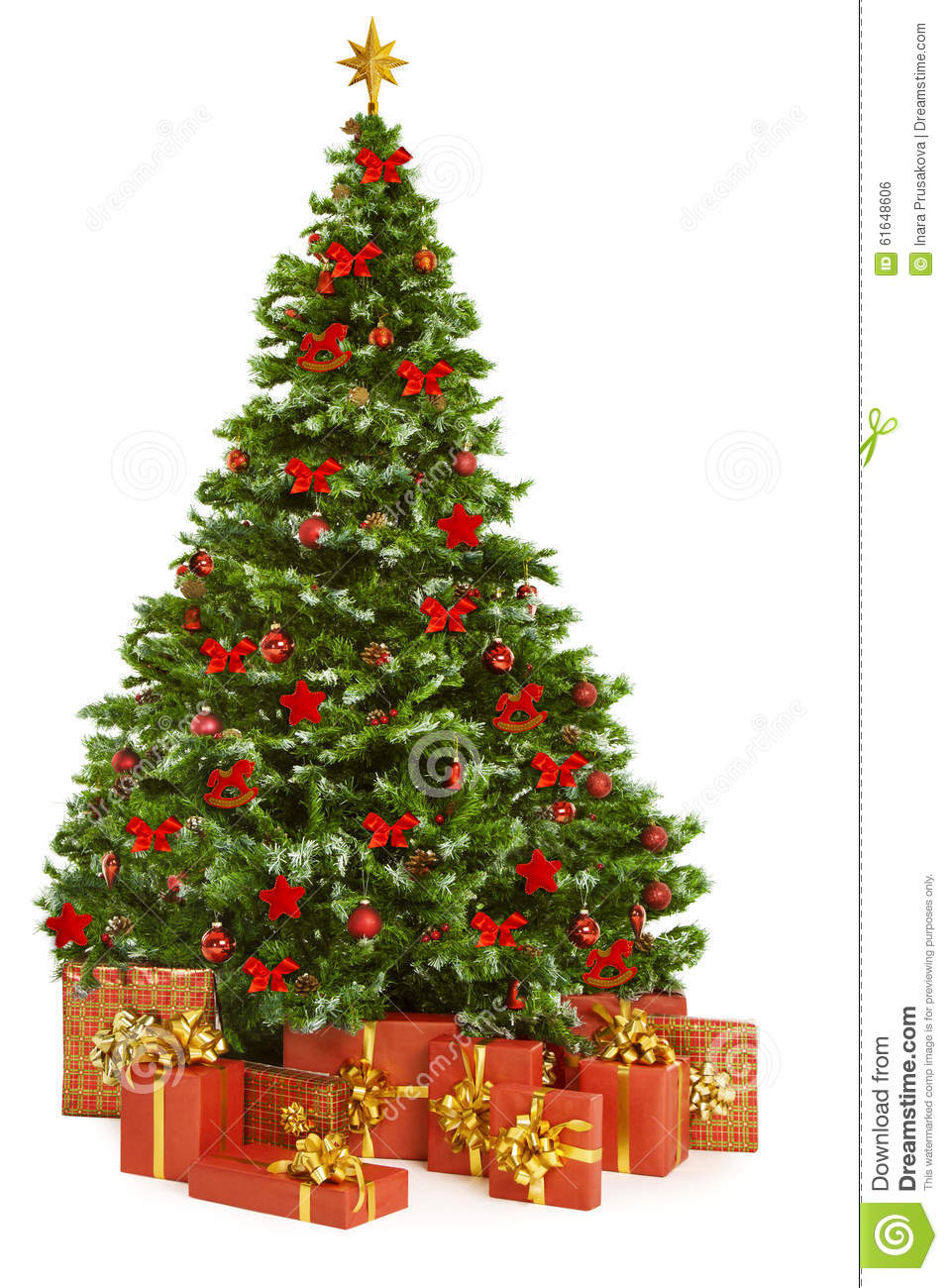 Christmas Tree And Presents Gifts, Xmas Tree Toys On White Stock ...