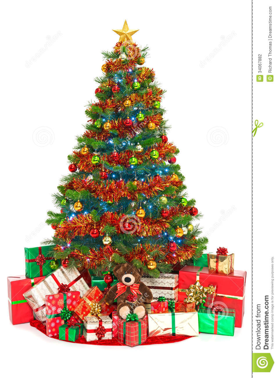 Christmas tree and presents isolated on white stock photo How to decorate a christmas tree without tinsel