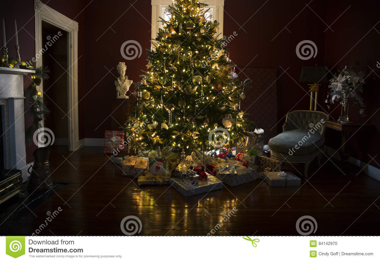 Christmas tree with presents and lights - Christmas Tree With Presents And Lights Stock Photo