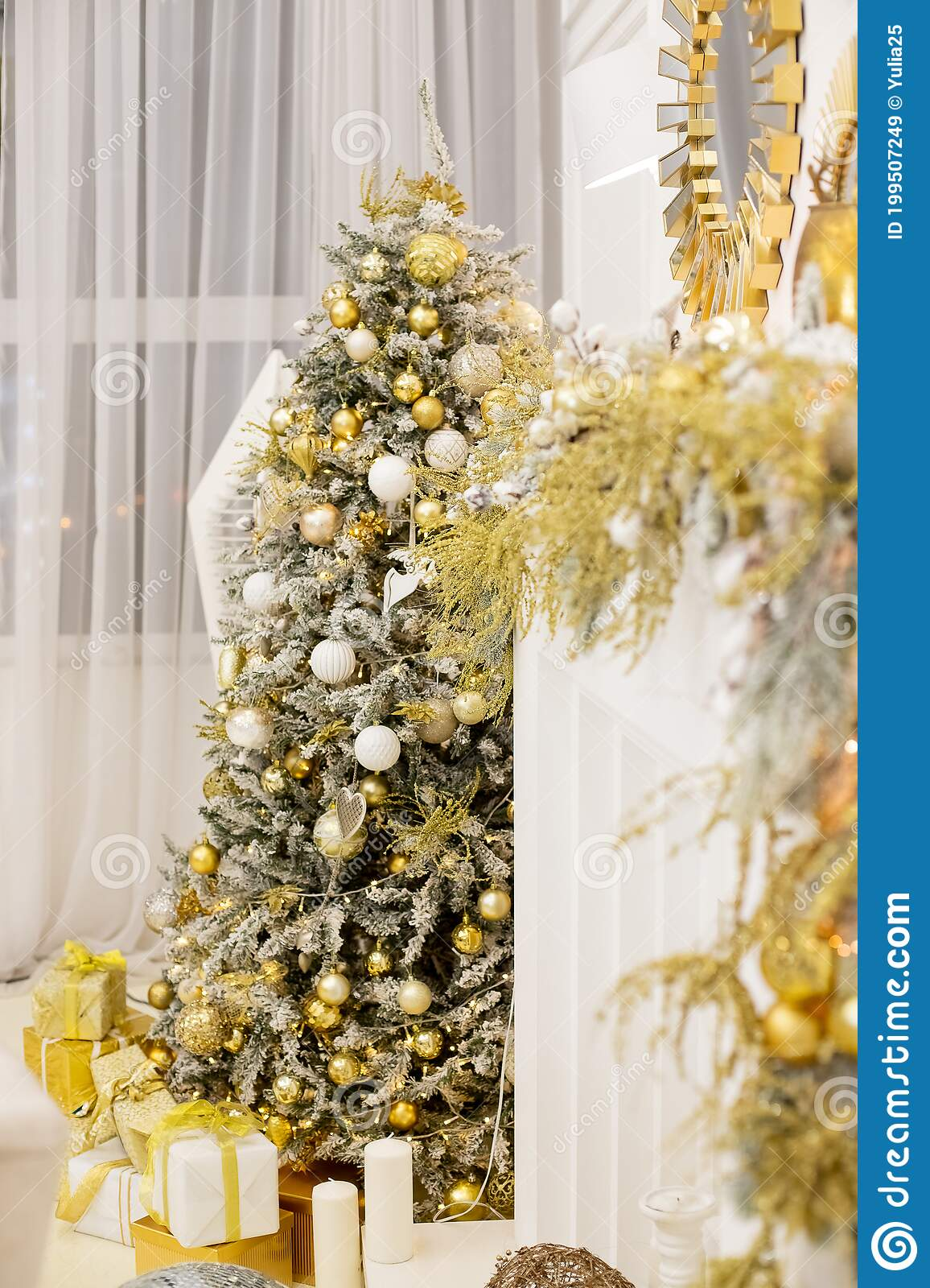 Christmas Tree With Presents Luxury New Year Decor Beige White Golden Silver Christmas Tree Decoration Merry Stock Image Image Of Fireplace December 199507249