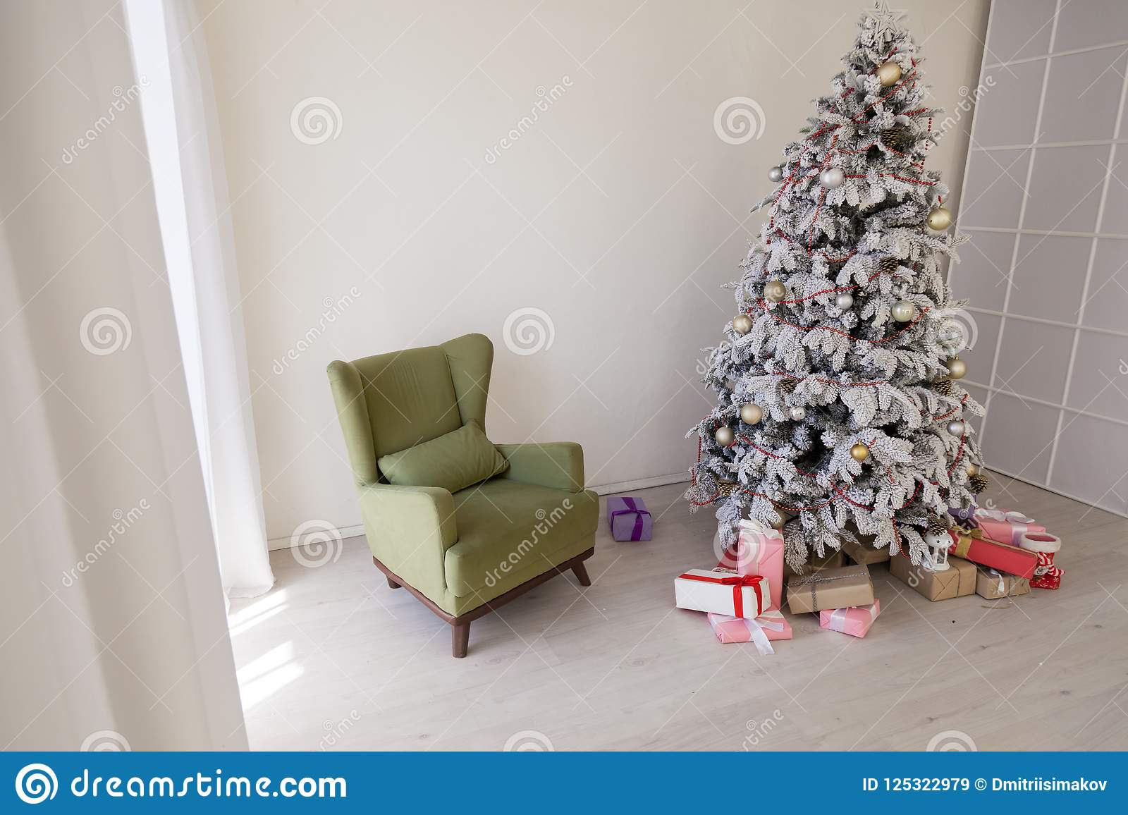 Christmas tree with presents new year white scenery