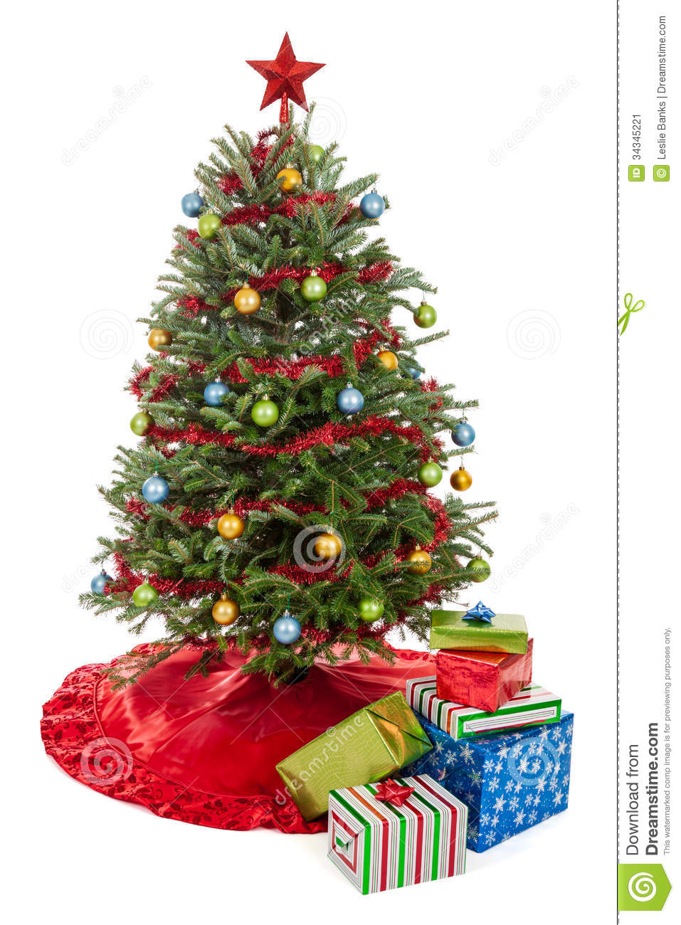 Christmas tree with presents stock image image 34345221 for How to decorate a small white christmas tree