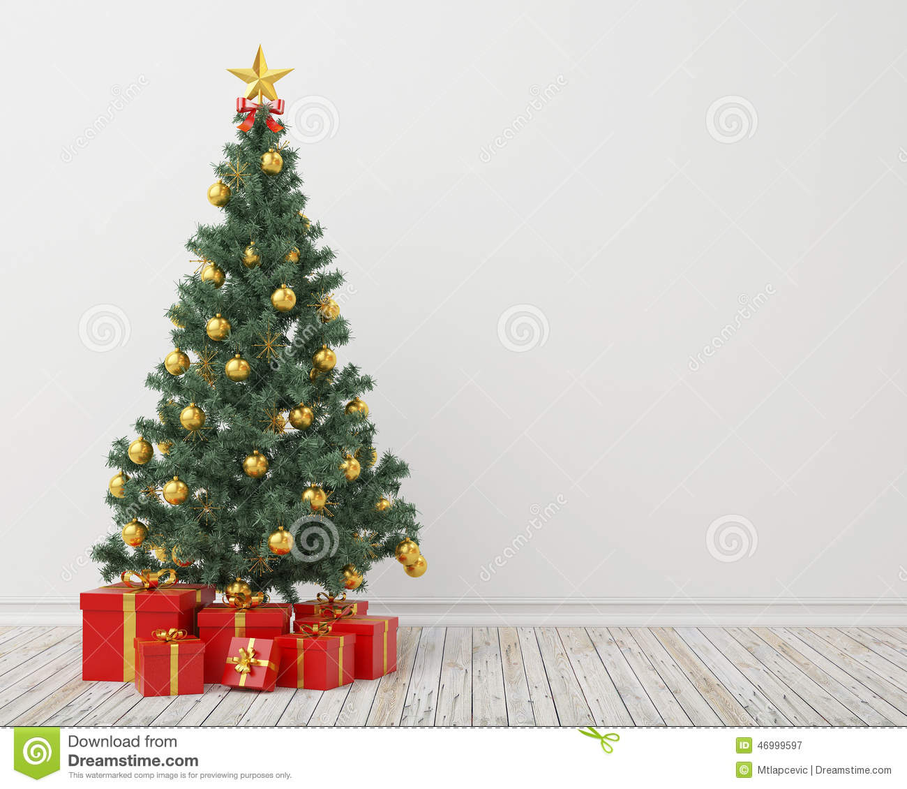 Christmas tree with presents in the vintage room background stock christmas tree with presents in the vintage room background voltagebd