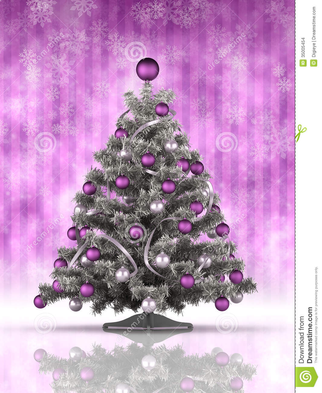 Christmas tree decorations purple and silver - Christmas Tree On Purple Background Stock Images