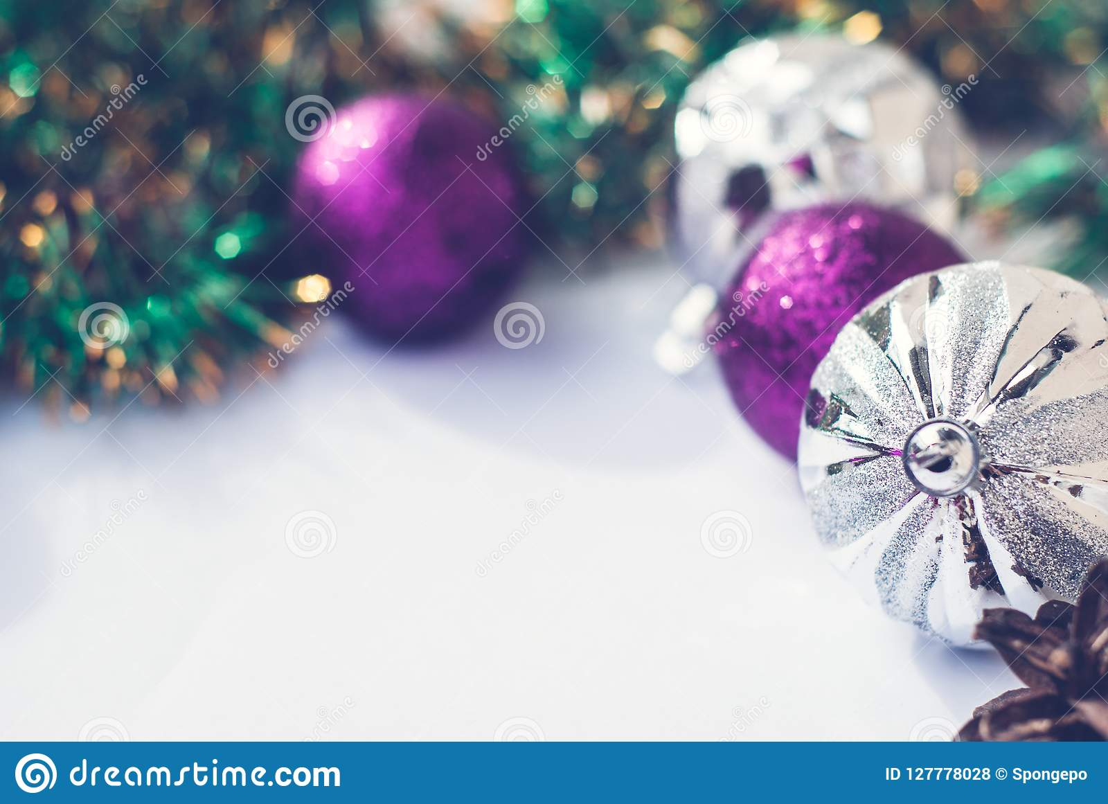 New Year Theme Christmas Tree Purple And Silver Decorations Balls On White Retro Wood Background Stock Photo Image Of Bright Retro 127778028