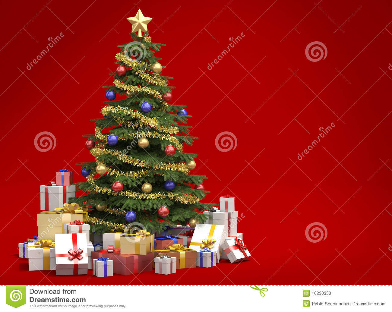 Red Christmas Background With Xmas Tree And Gifts: Christmas Tree On Red Background Stock Illustration