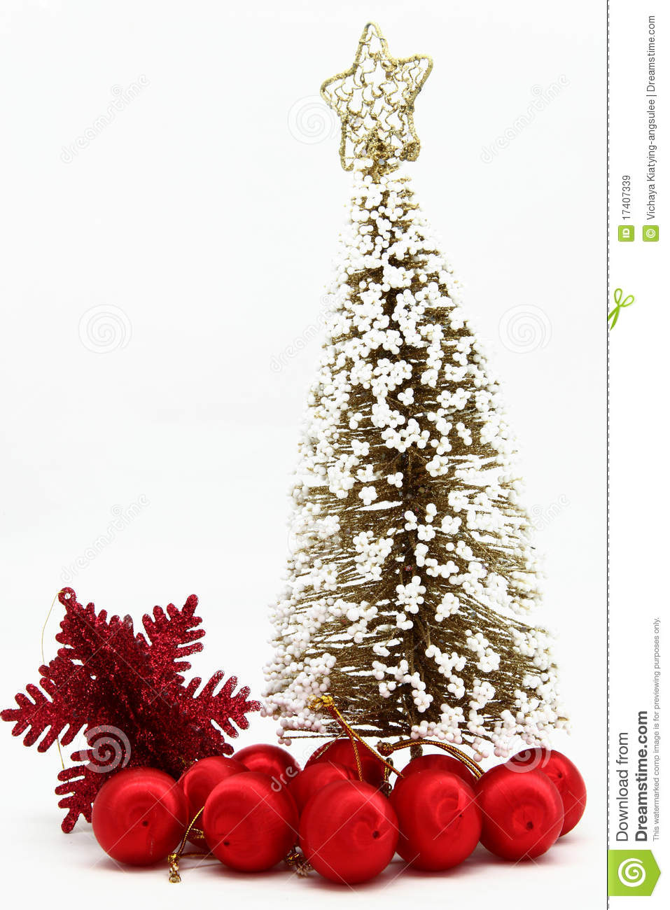 Christmas tree with red ball ornament royalty free stock
