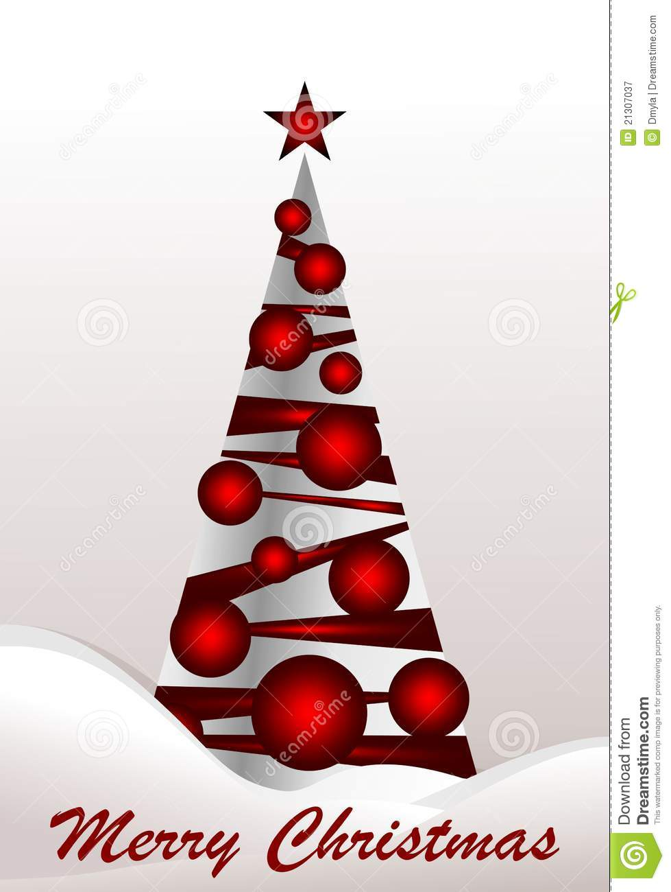 Christmas tree with red balls royalty free stock