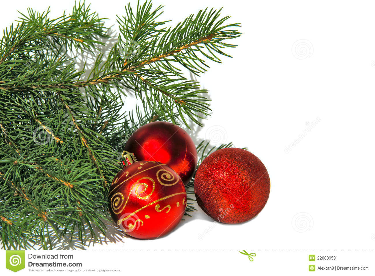 Christmas tree and red balls royalty free stock images for Christmas tree balls