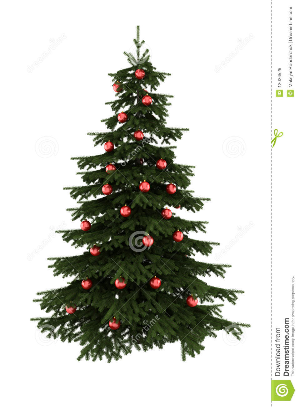 Christmas tree with red balls isolated on white royalty