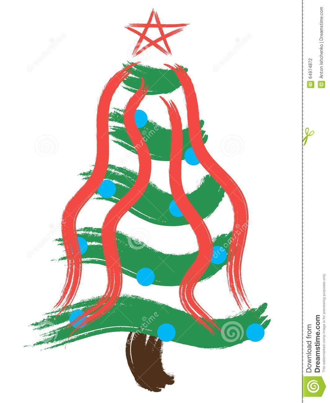Christmas Tree In Red And Blue Stock Illustration Image
