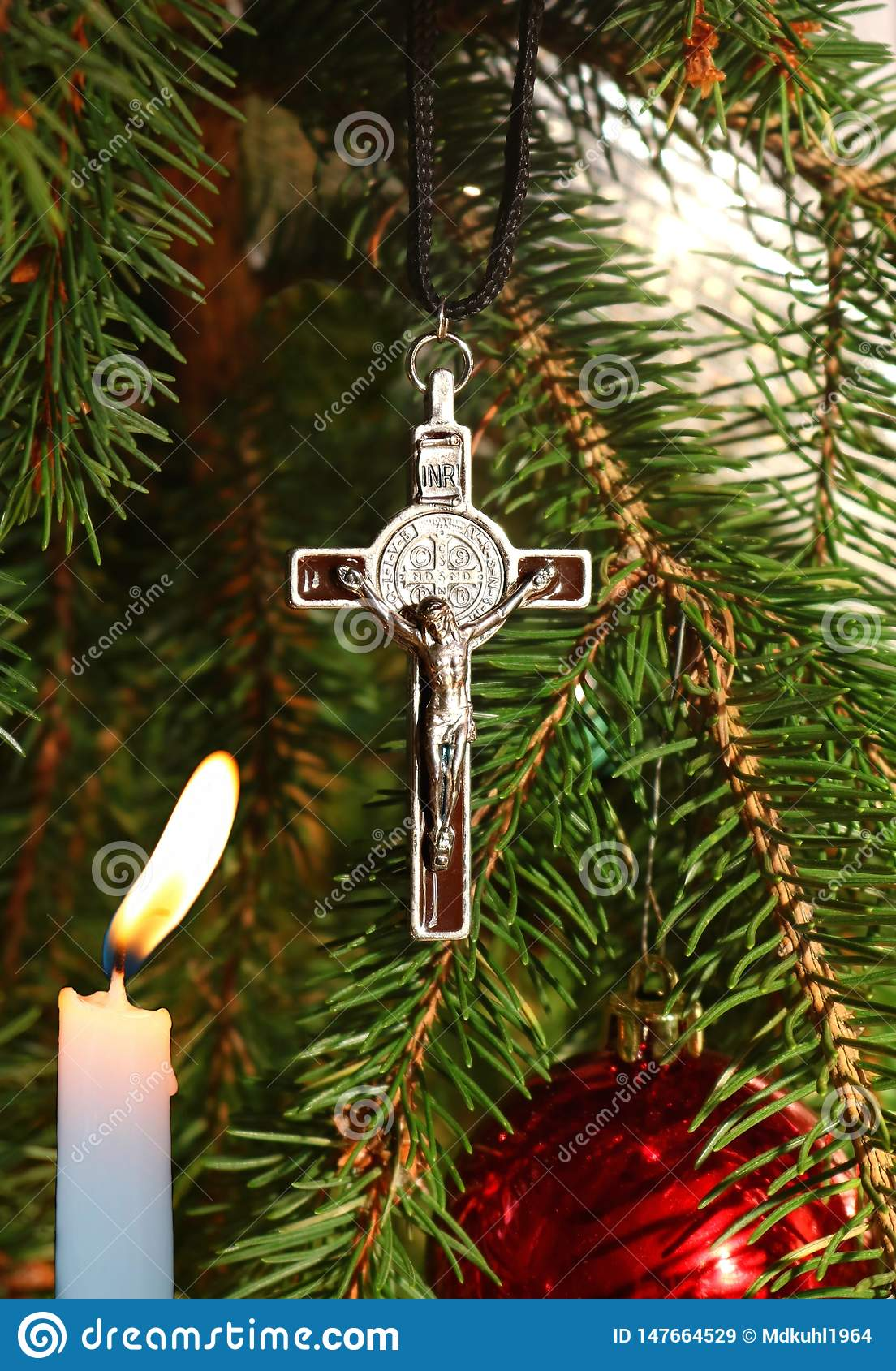 Christ Cross Lit Candle Ornament On Christmas Tree Stock Image Image Of December Love 147664529