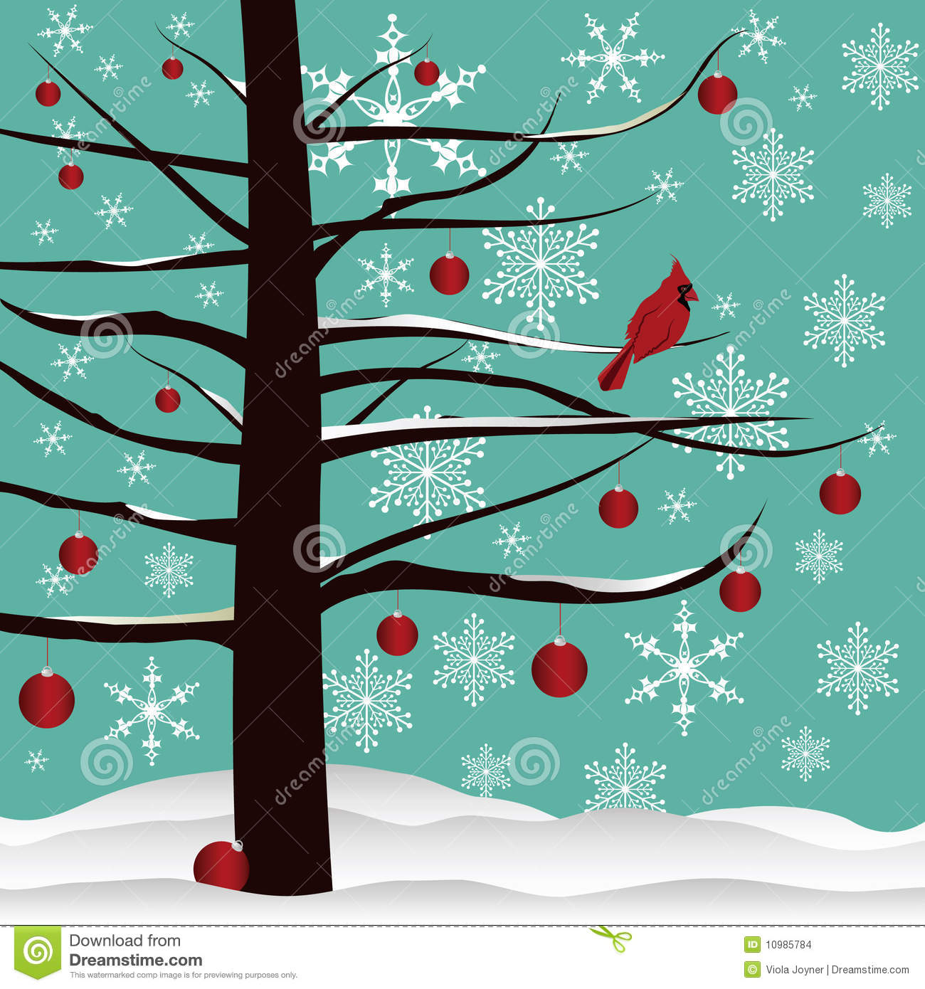 christmas tree and red cardinal background - Red Cardinal Christmas Decorations