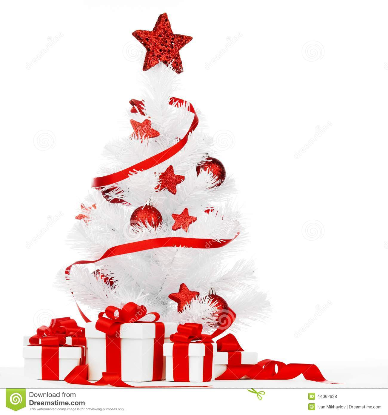 Christmas Tree With Red Decor Stock Photo - Image: 44062638