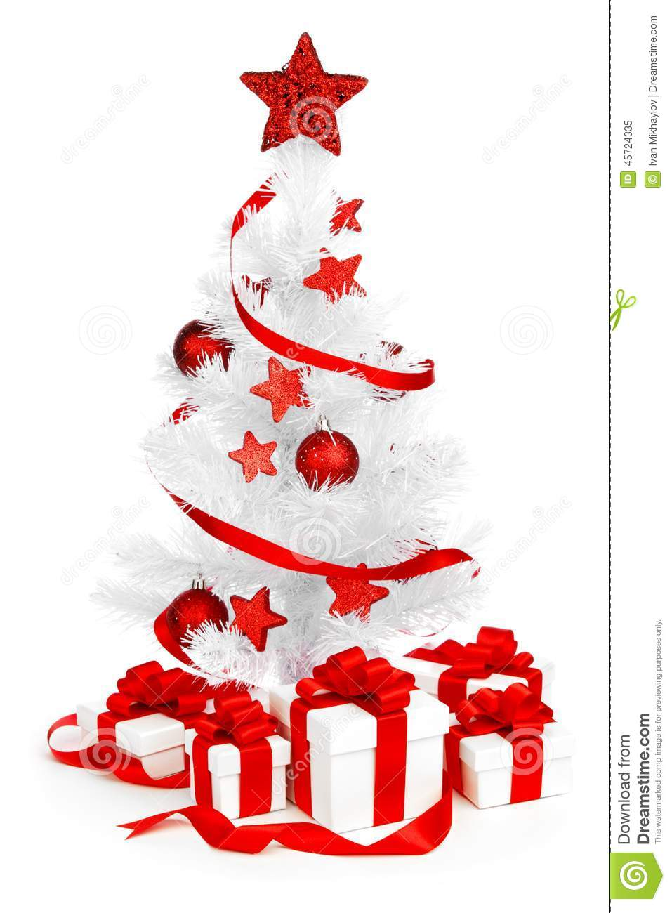 White christmas tree with red decorations - Christmas Tree With Red Decor