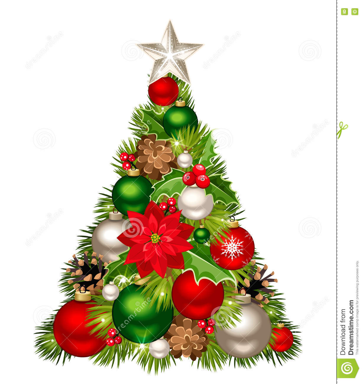 download christmas tree with red green and silver decorations vector illustration stock vector - Green And Silver Christmas Decorations