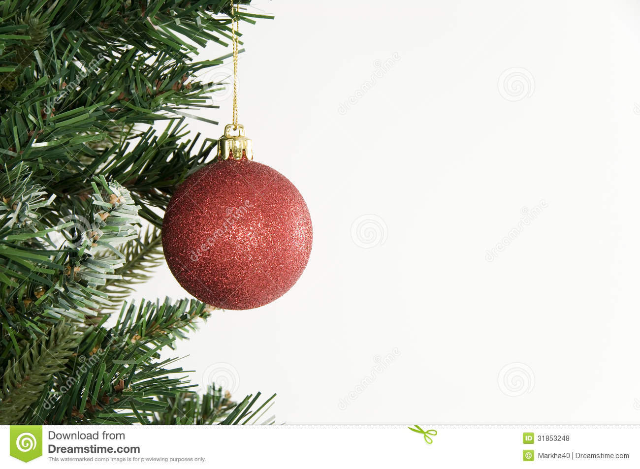Christmas tree and red ornament on white background stock for White tree red ornaments