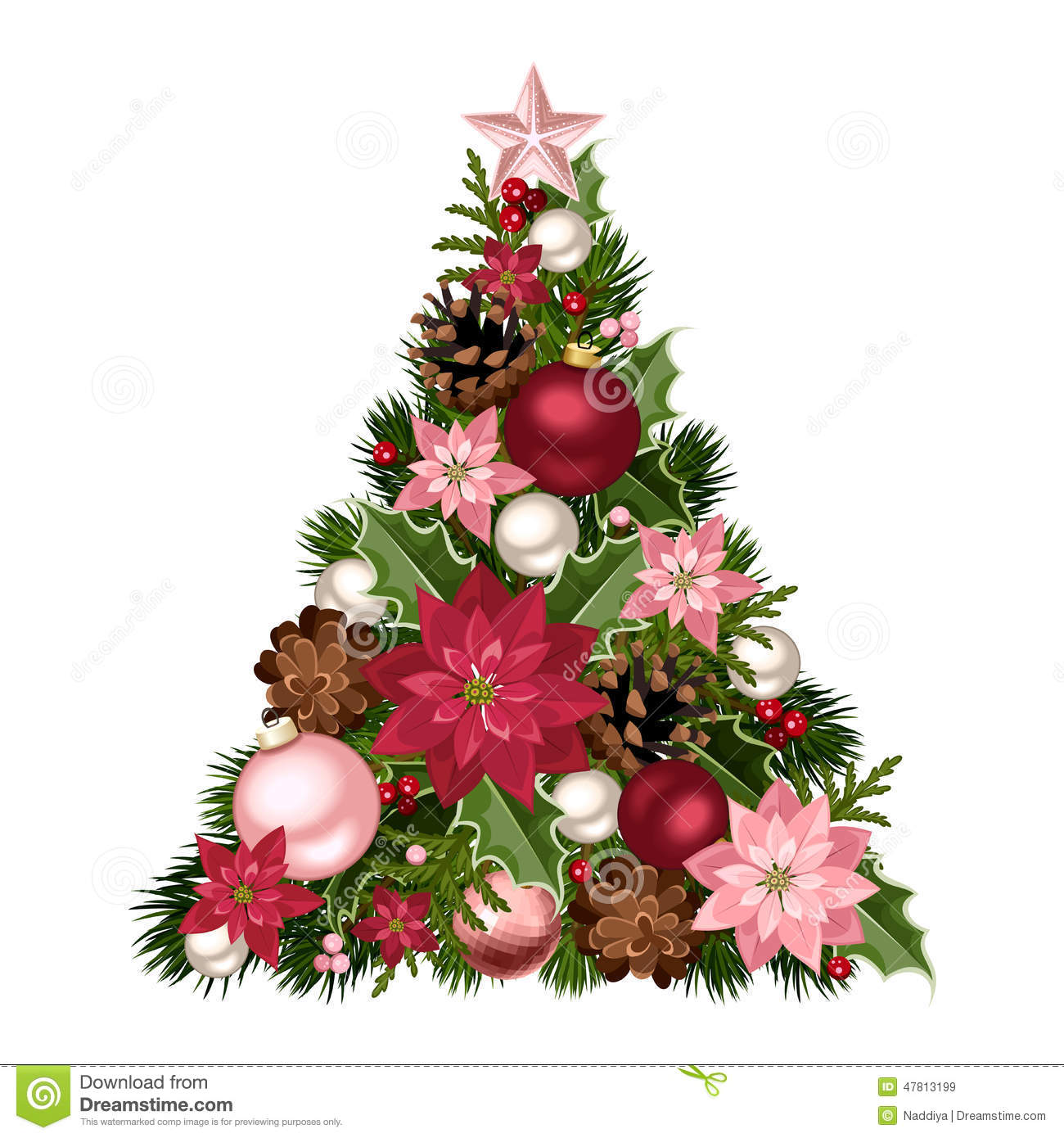 Christmas tree with red and pink decorations vector