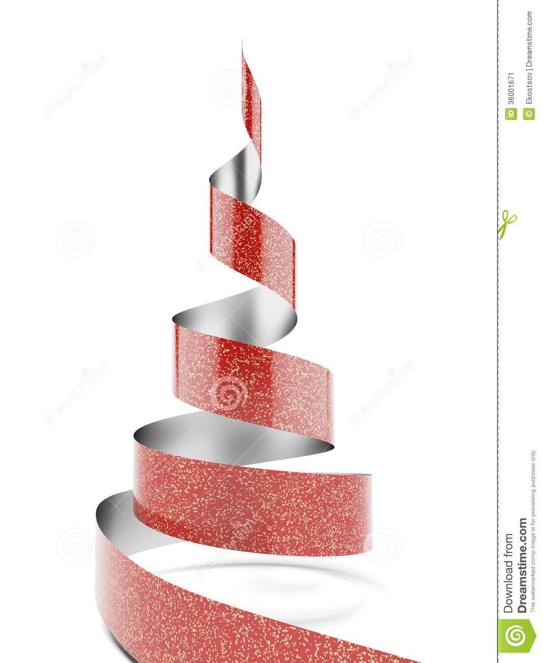 Christmas Tree With Red Ribbon: Christmas Tree From Red Ribbon Tape Stock Image