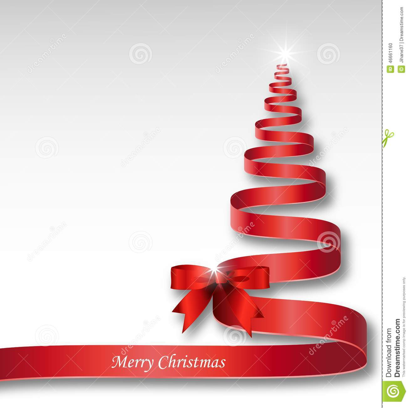Christmas tree with red ribbon for you design stock for Red ribbon around tree