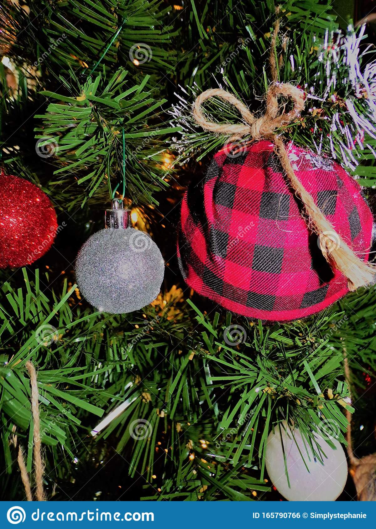 Christmas Tree Red Silver Green White Lights Holiday Winter Plaid Stock Photo Image Of Lights Green 165790766