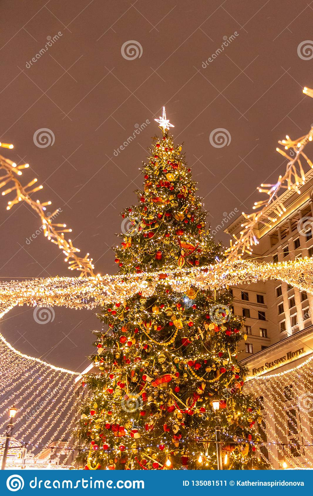 Christmas tree on red square