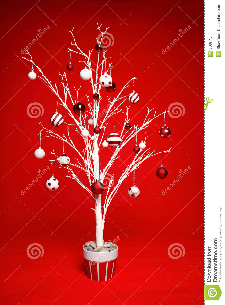 Christmas tree with red and white baubles stock photos for White christmas baubles