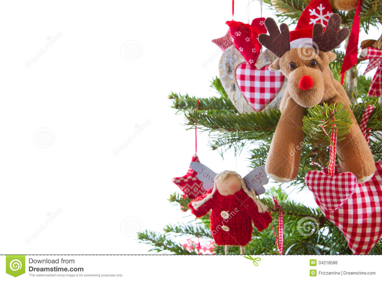Christmas Tree With Red And White Hanging Decoration With