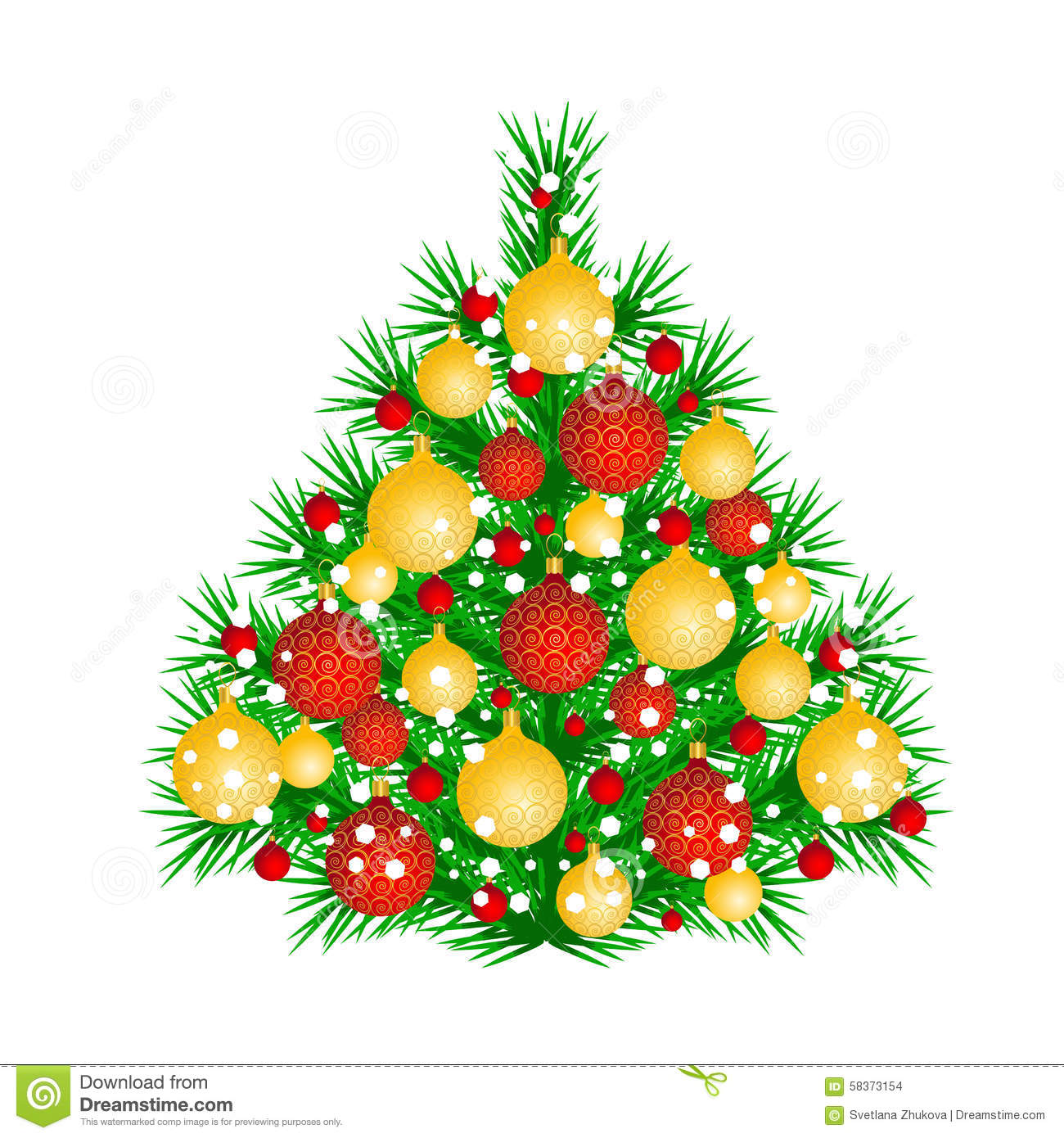 Christmas tree stock illustration image 58373154 for Red and yellow christmas tree