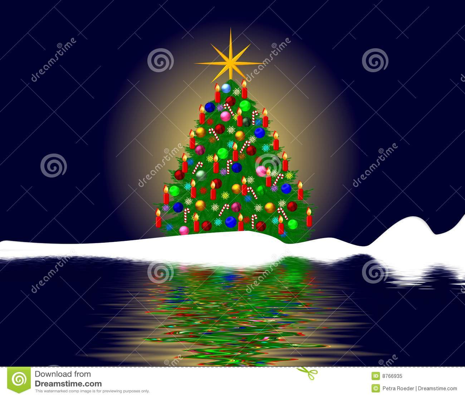 Christmas tree reflection stock illustration image of