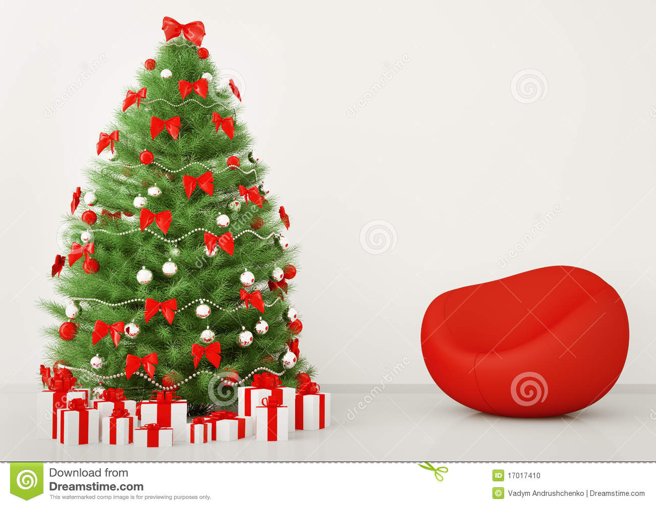 Christmas Tree In The Room Interior 3d Stock Photo Image