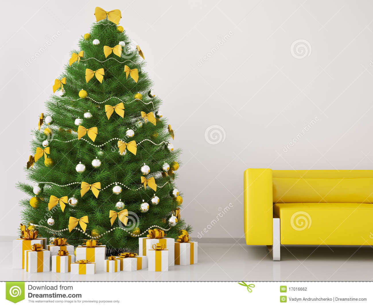 Christmas Tree Room christmas tree in the room interior 3d render stock photography