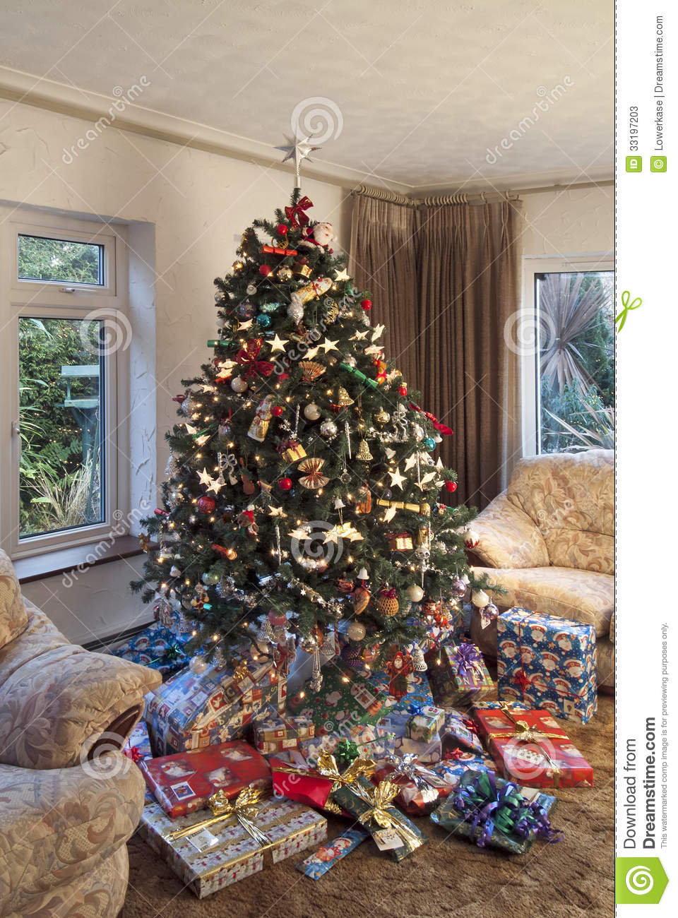 Christmas Tree In Room Setting Stock Image Image Of