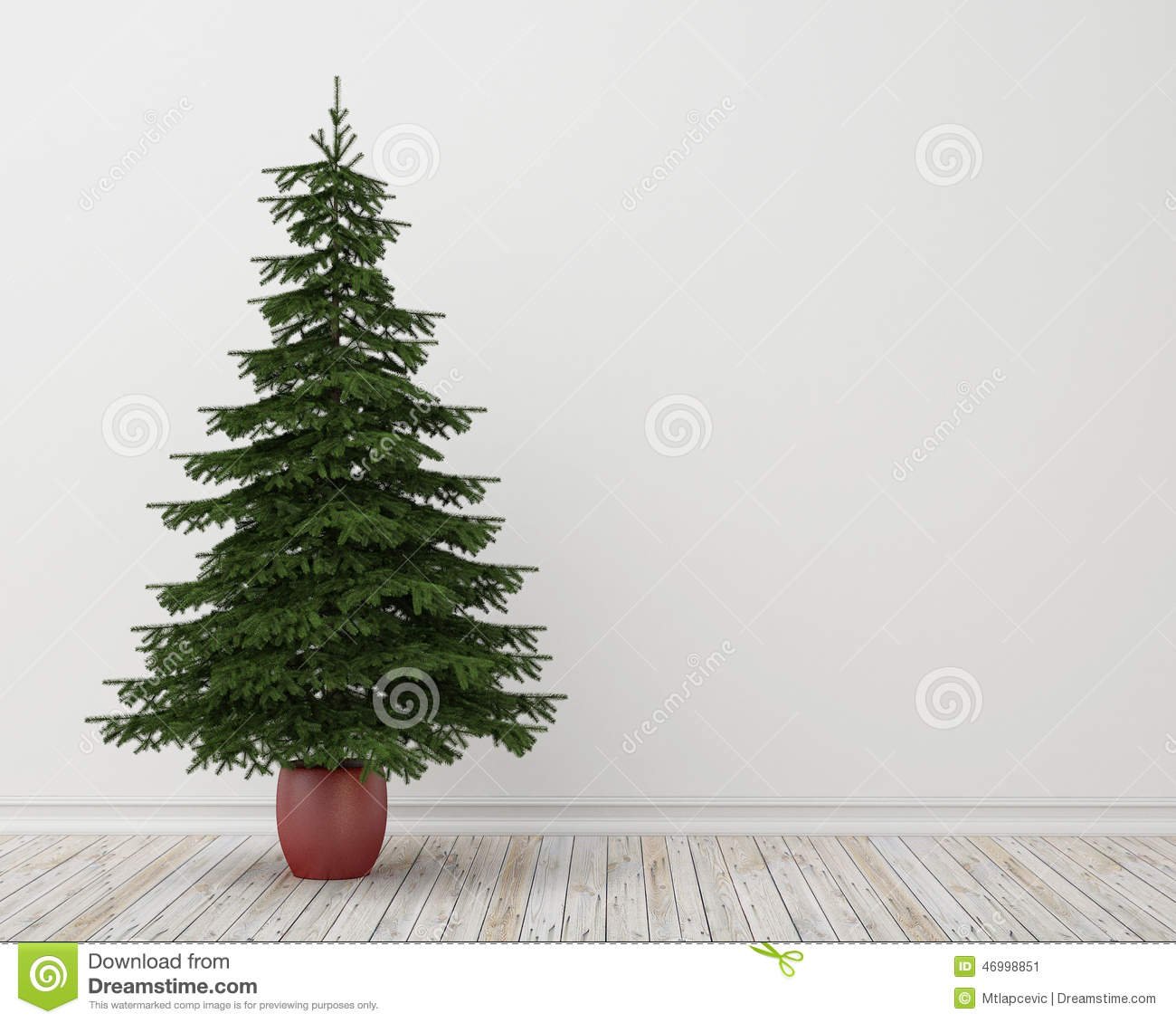 Christmas Tree In Room With Vintage Wooden Floor And White Wall Background Stock Illustration Illustration Of Room December 46998851