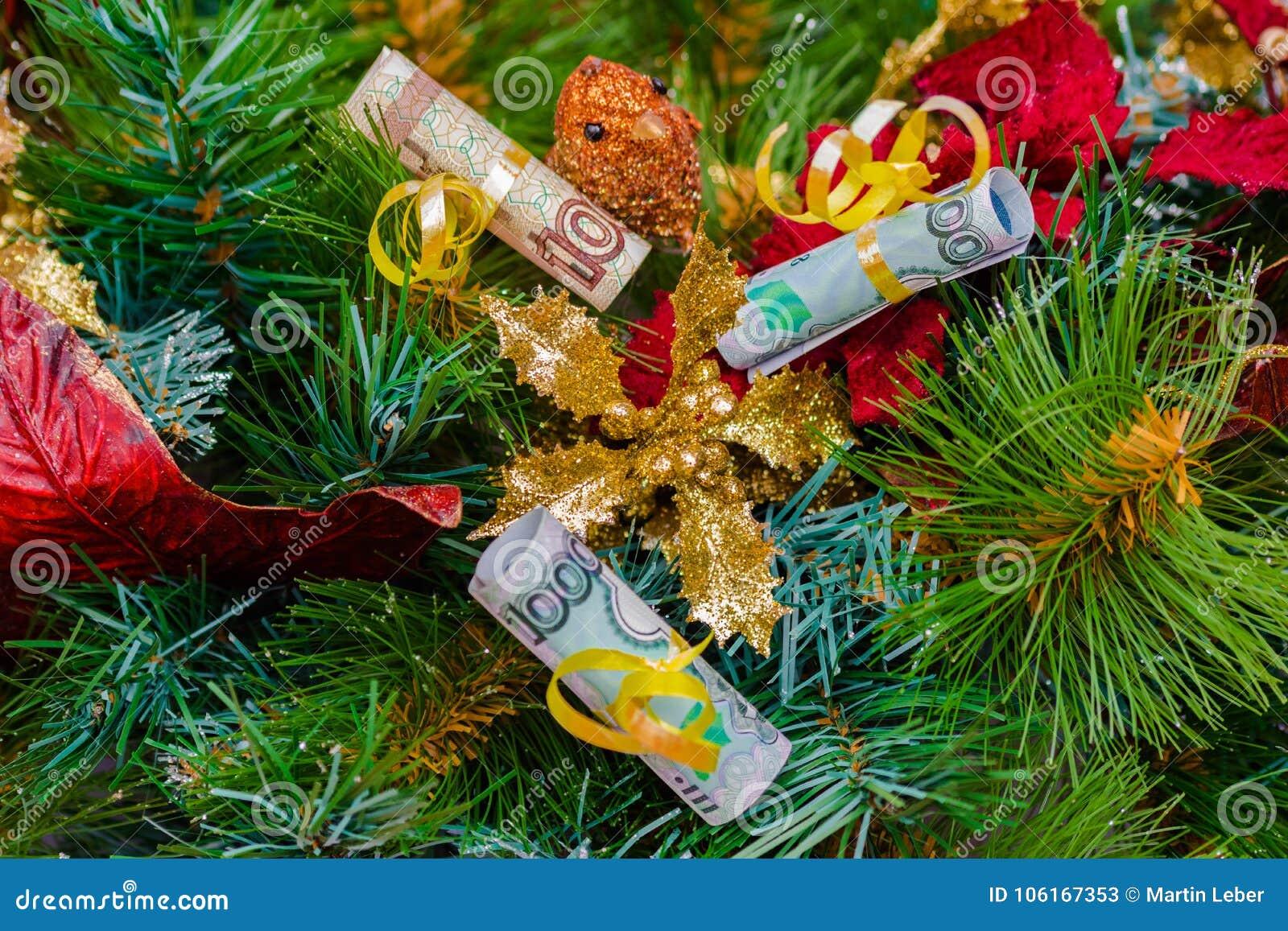 Christmas Tree Bill.Christmas Tree Russian Rubles Bills Decoration Stock Image