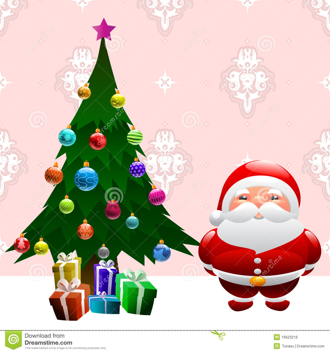 christmas tree and santa claus