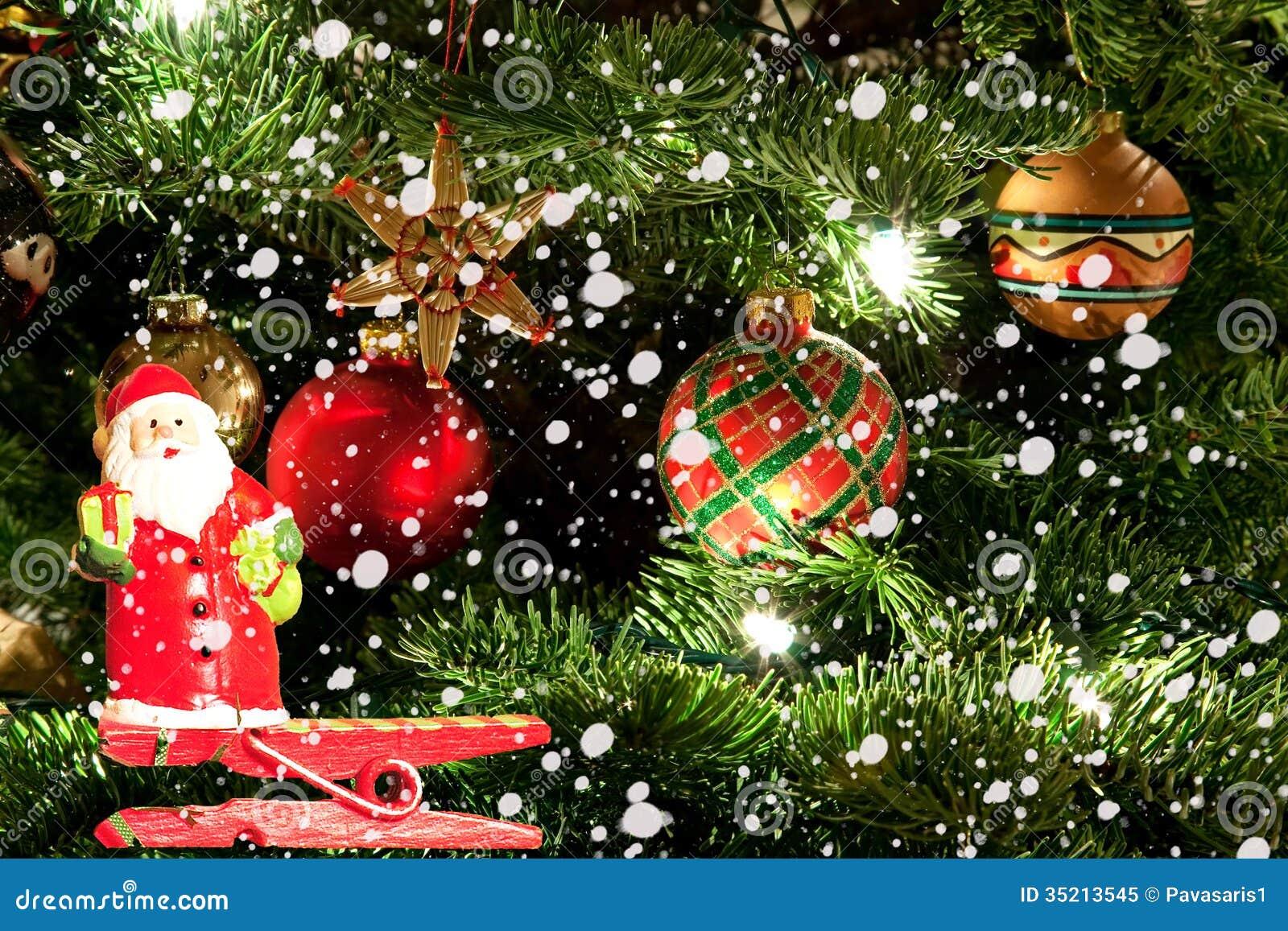 Christmas tree and santa claus royalty free stock photo image