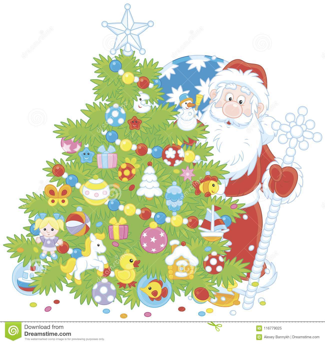 Christmas Tree And Santa Claus With Gifts Stock Vector ...