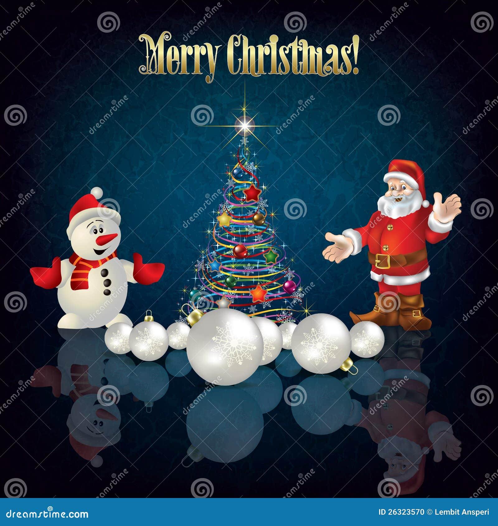 christmas tree santa claus and snowman - Santa Snowman 2