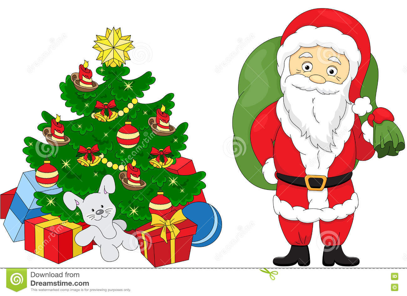 Christmas tree and Santa stock vector. Illustration of greeting ...
