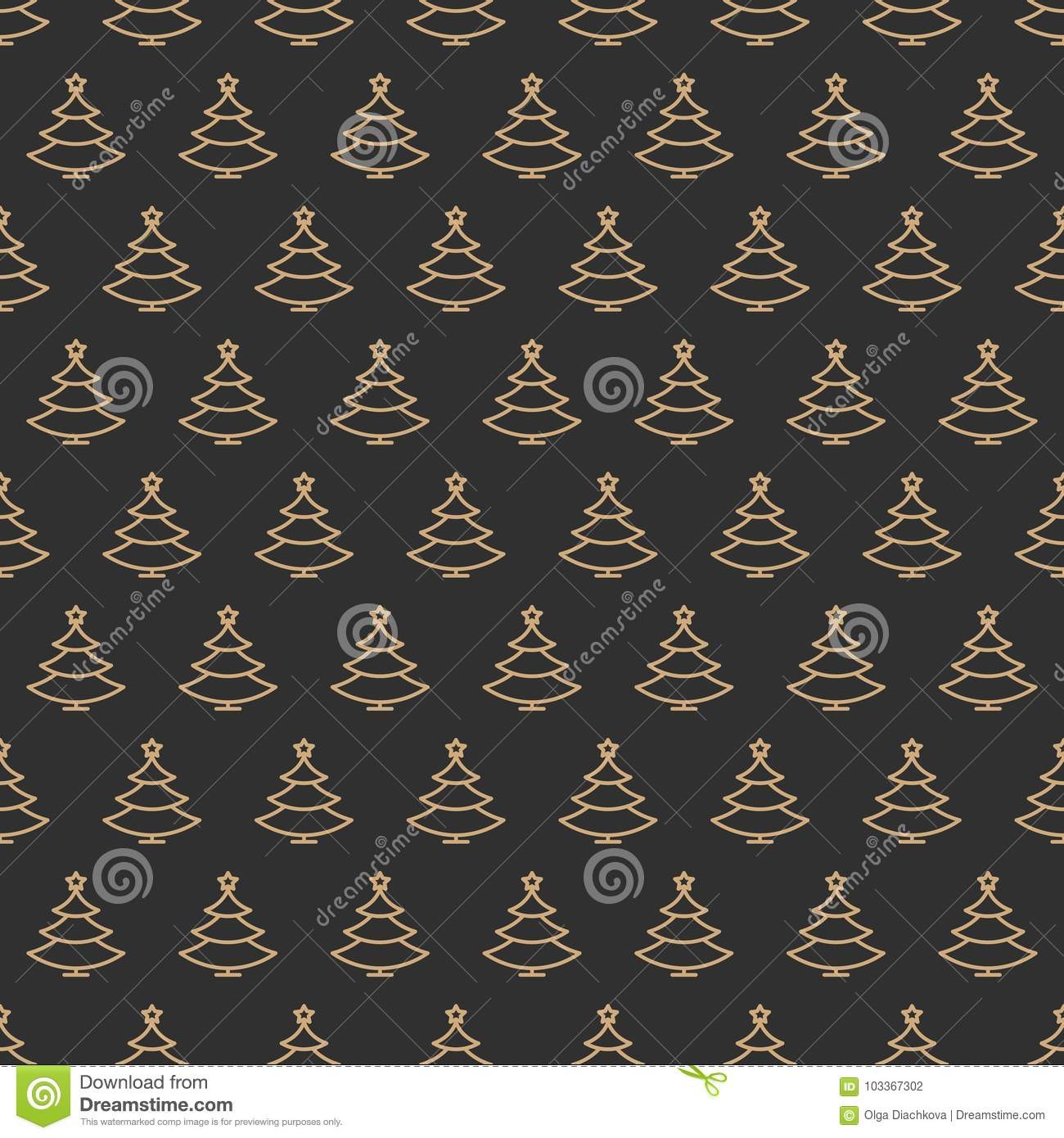 Christmas tree seamless pattern gold color line style on black background