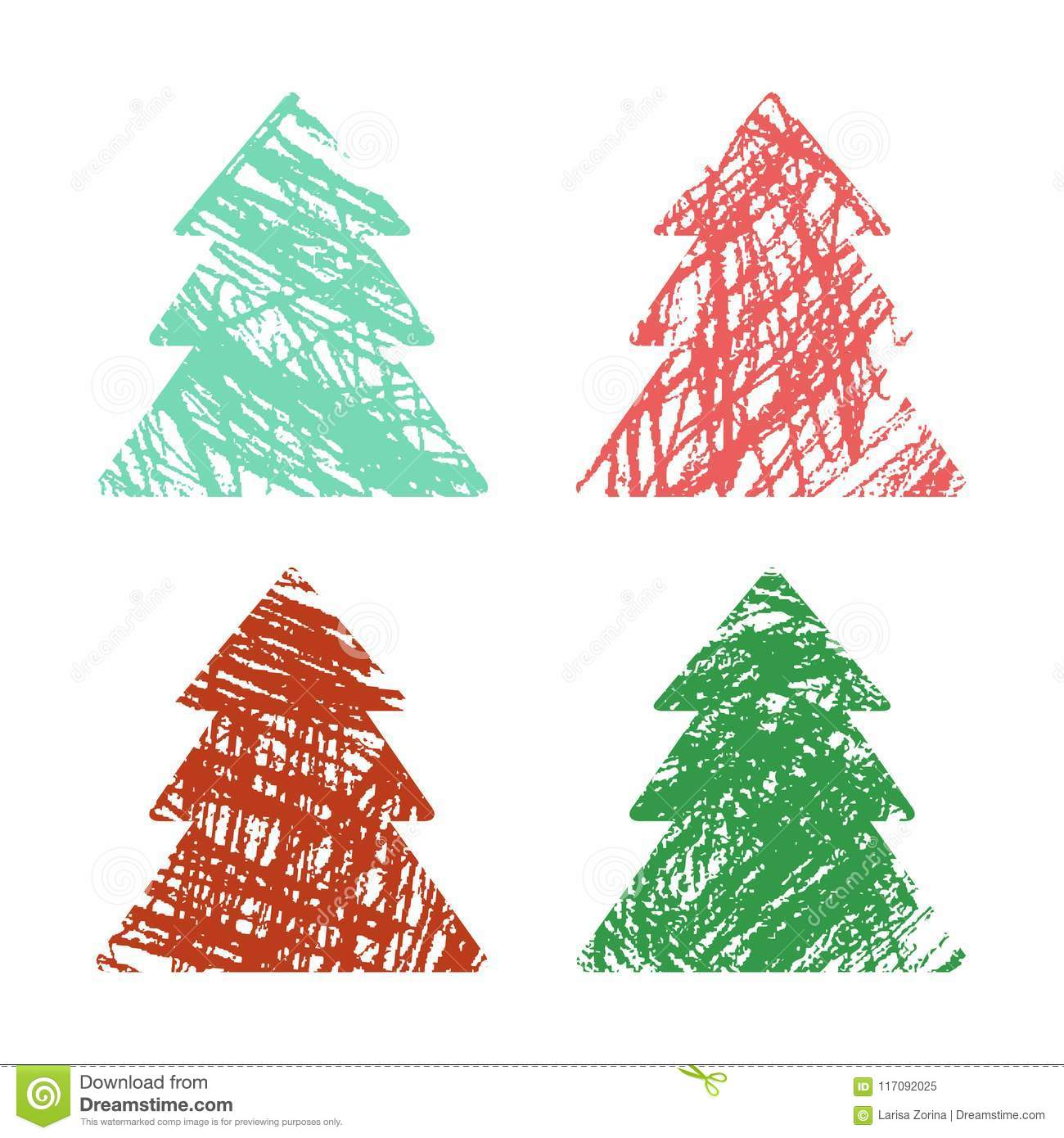 Christmas Tree Set With Crayon Hand Drawing Artistic Stroke