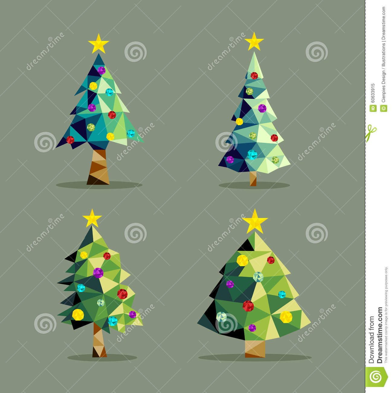 Christmas Tree Set Low Poly Triangle Ornaments Stock Vector ...