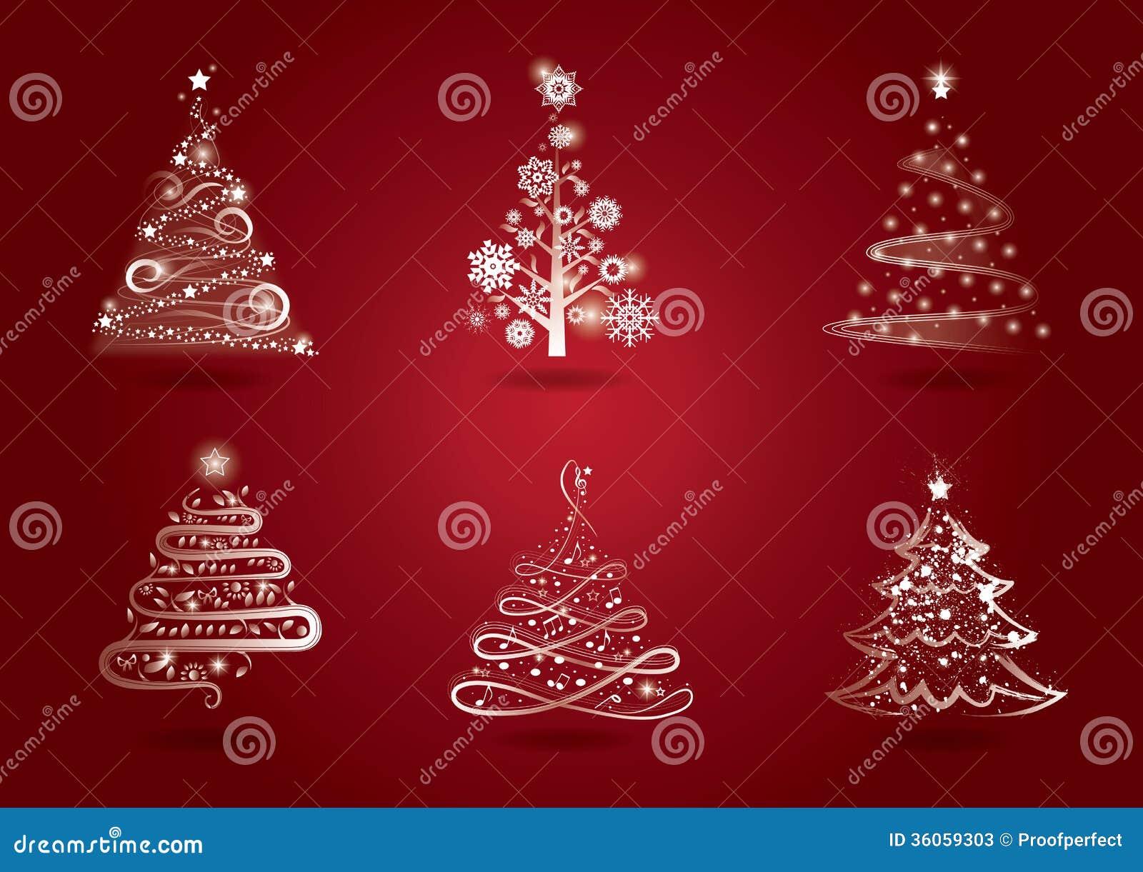 Christmas Tree Set Stock Illustration Illustration Of