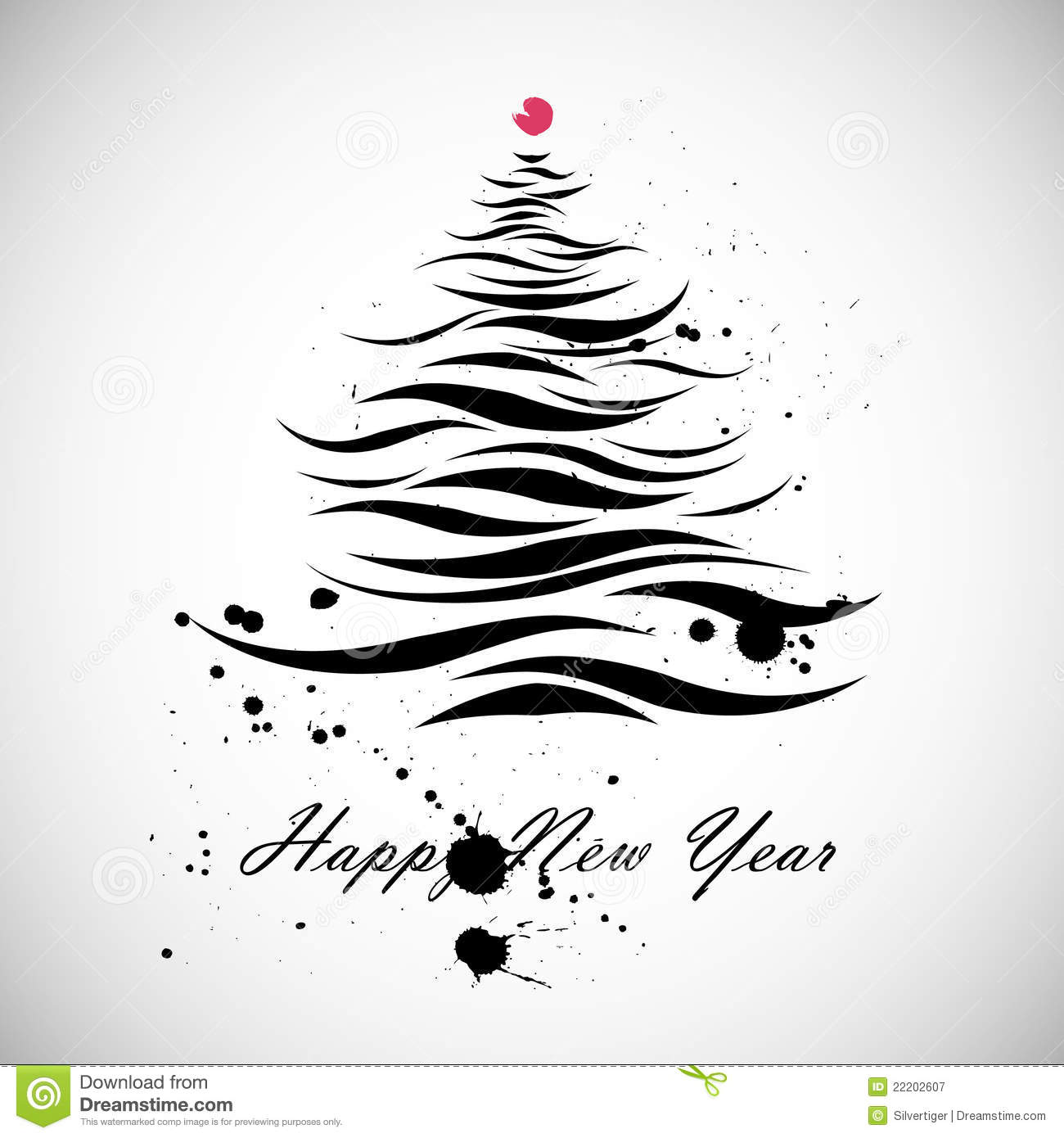 Christmas Tree Shape In Calligraphic Style Royalty Free