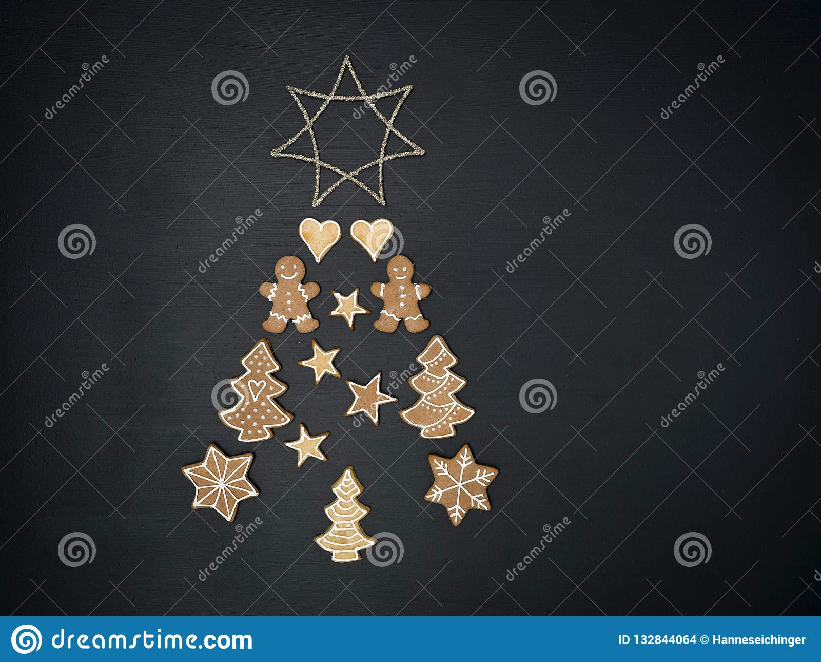 Christmas Tree Shaped Out Of Different Christmas Deco Items Stock