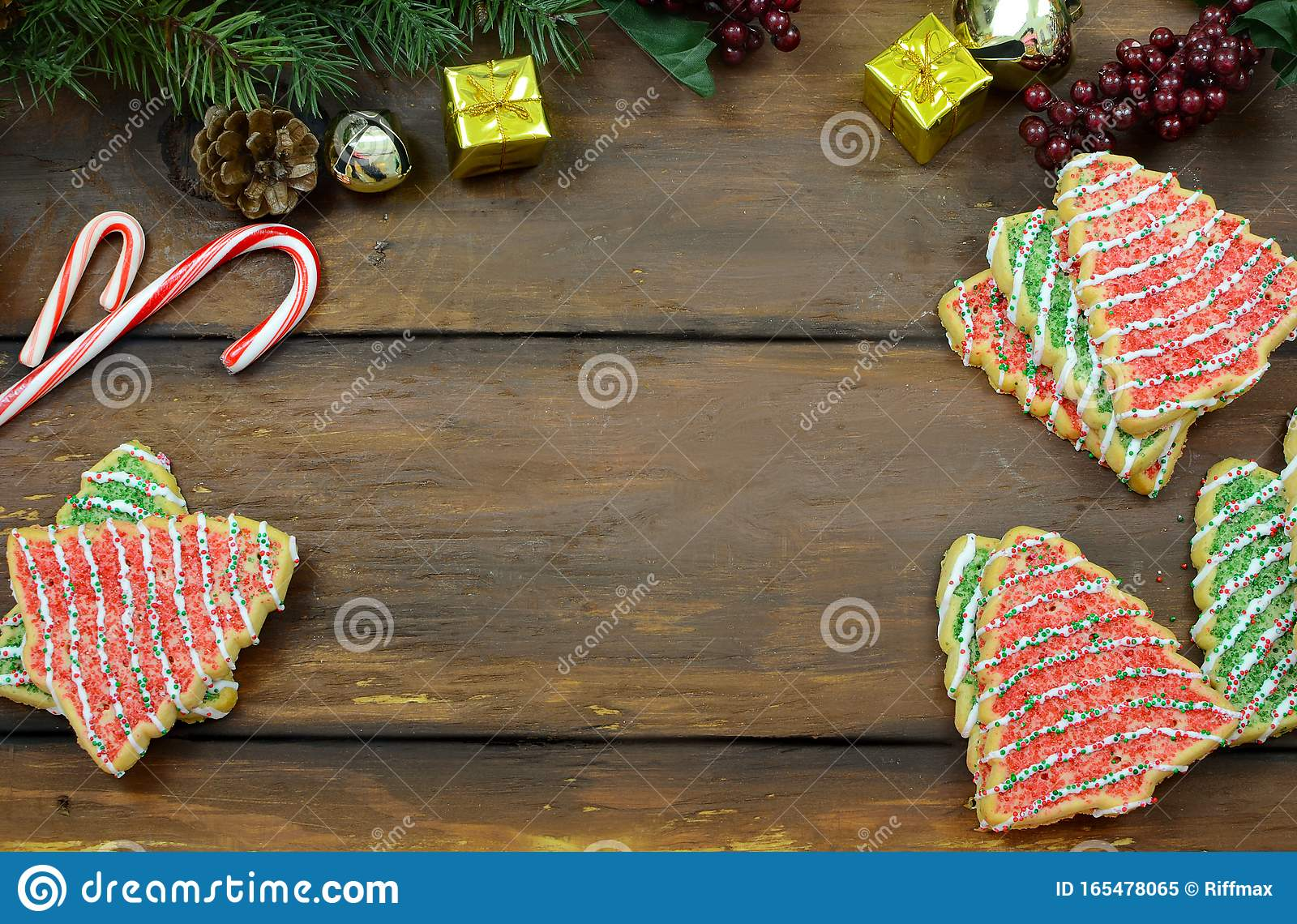 Christmas Tree Shaped Sugar Cookies Candy Canes Pine Branches With Cones Mini Gifts And Jingle Bells On A Wide Plank Rustic Wood Stock Image Image Of Copy Holiday 165478065