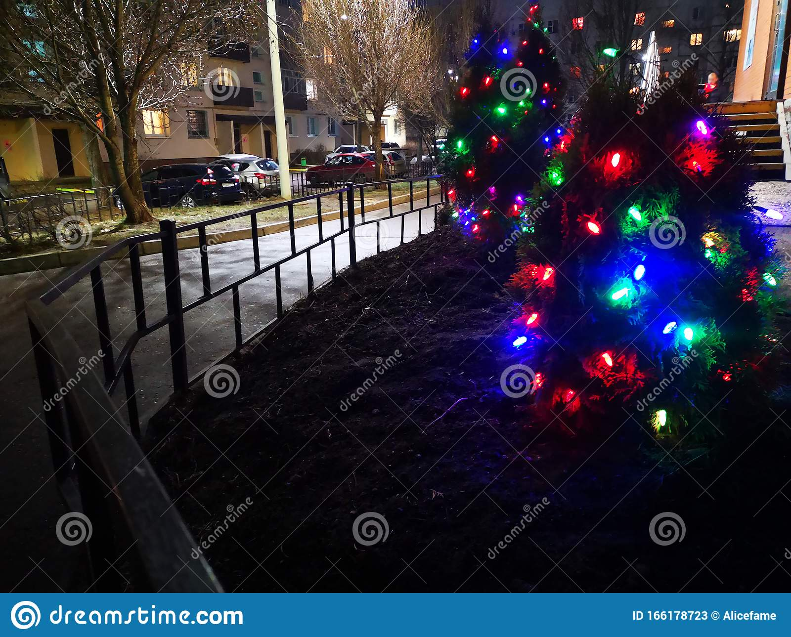 Christmas Tree Shines Beautifully With Multi Colored Lights In The Dark Stock Image Image Of Jolly Ornament 166178723