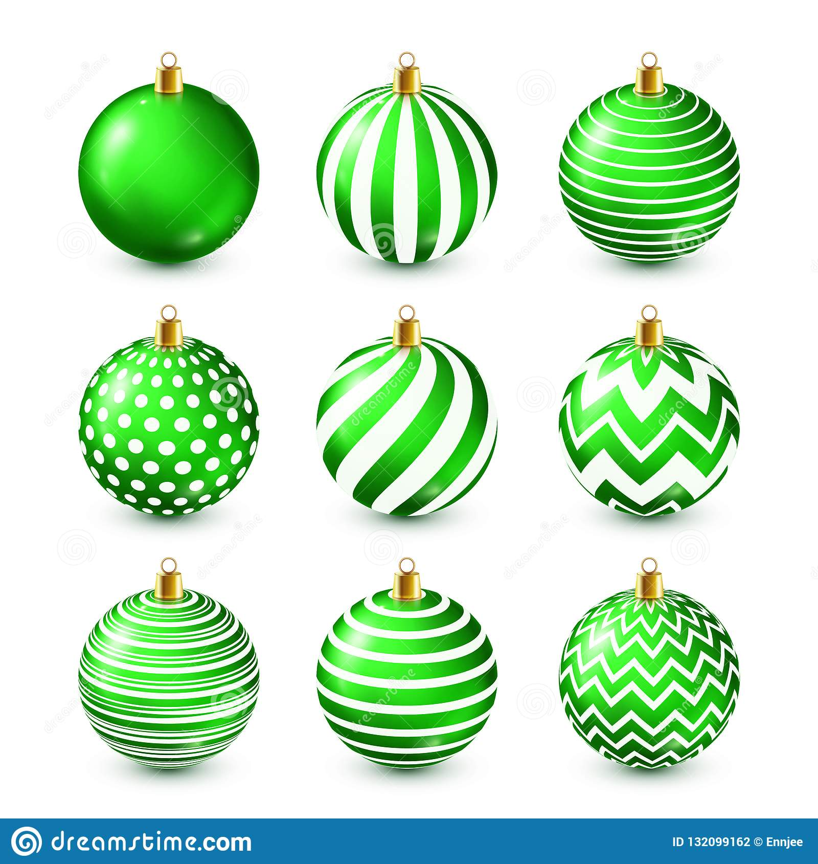 Christmas Tree Shiny Green Balls Set. New Year Decoration ...