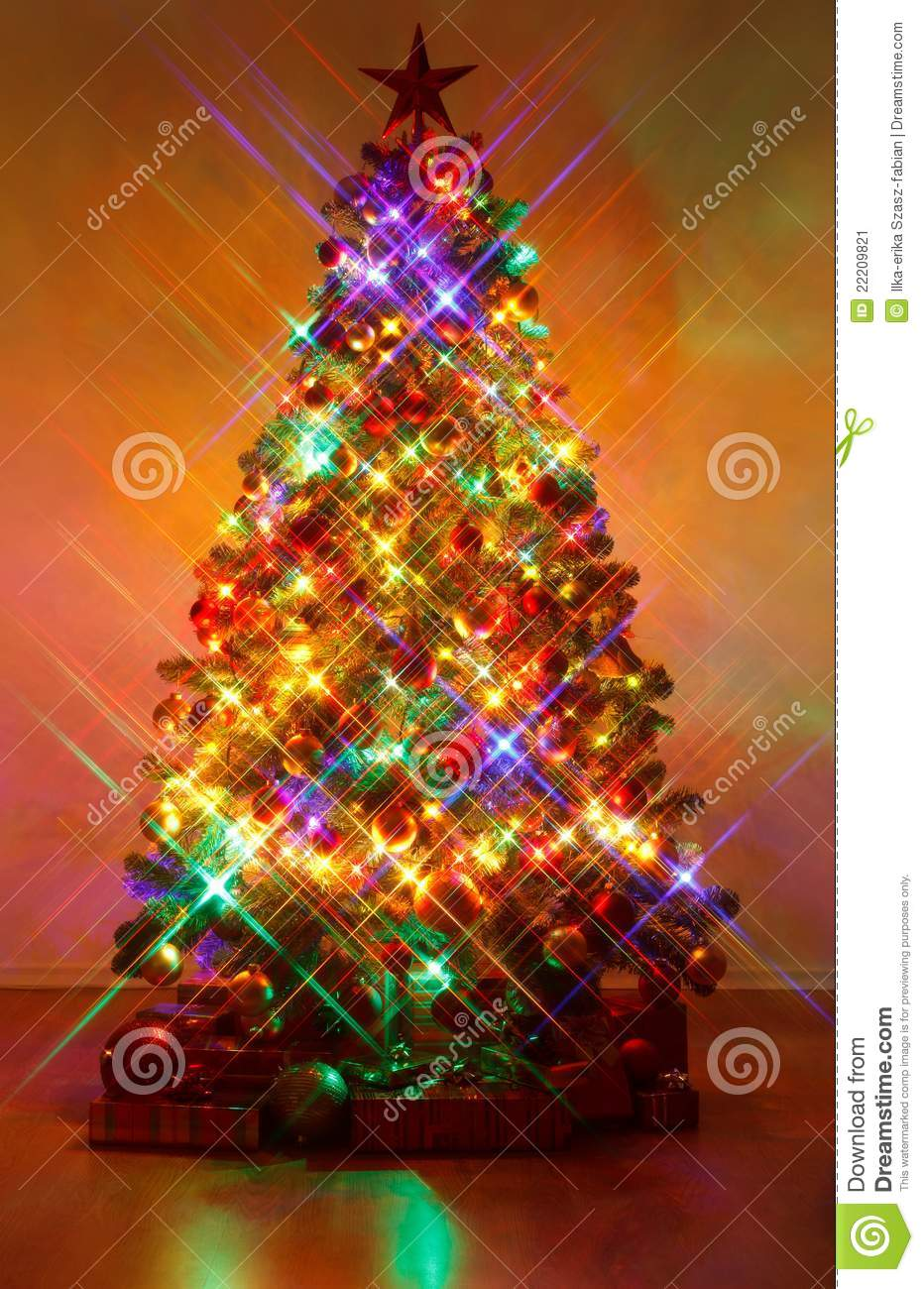 Christmas Tree Shot With Cross Screen Filter Stock Image